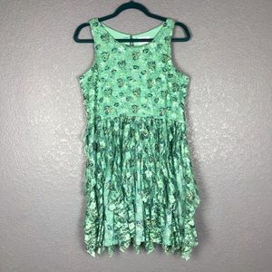 JUSTICE Mint Green Floral Printed Lace Mesh Dress